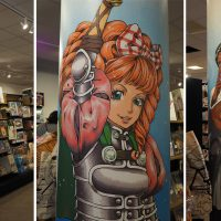 Murial painted on a pillar at the comic book store SF-bokhandeln in Malmö, Sweden, 2016.
